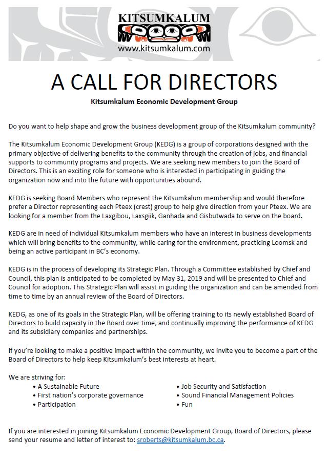 Call for Directors: Kitsumkalum Economic Development Group