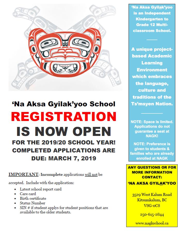 'Na Aksa Gyilak'yoo School Registration is now open for 2019/20 School Year