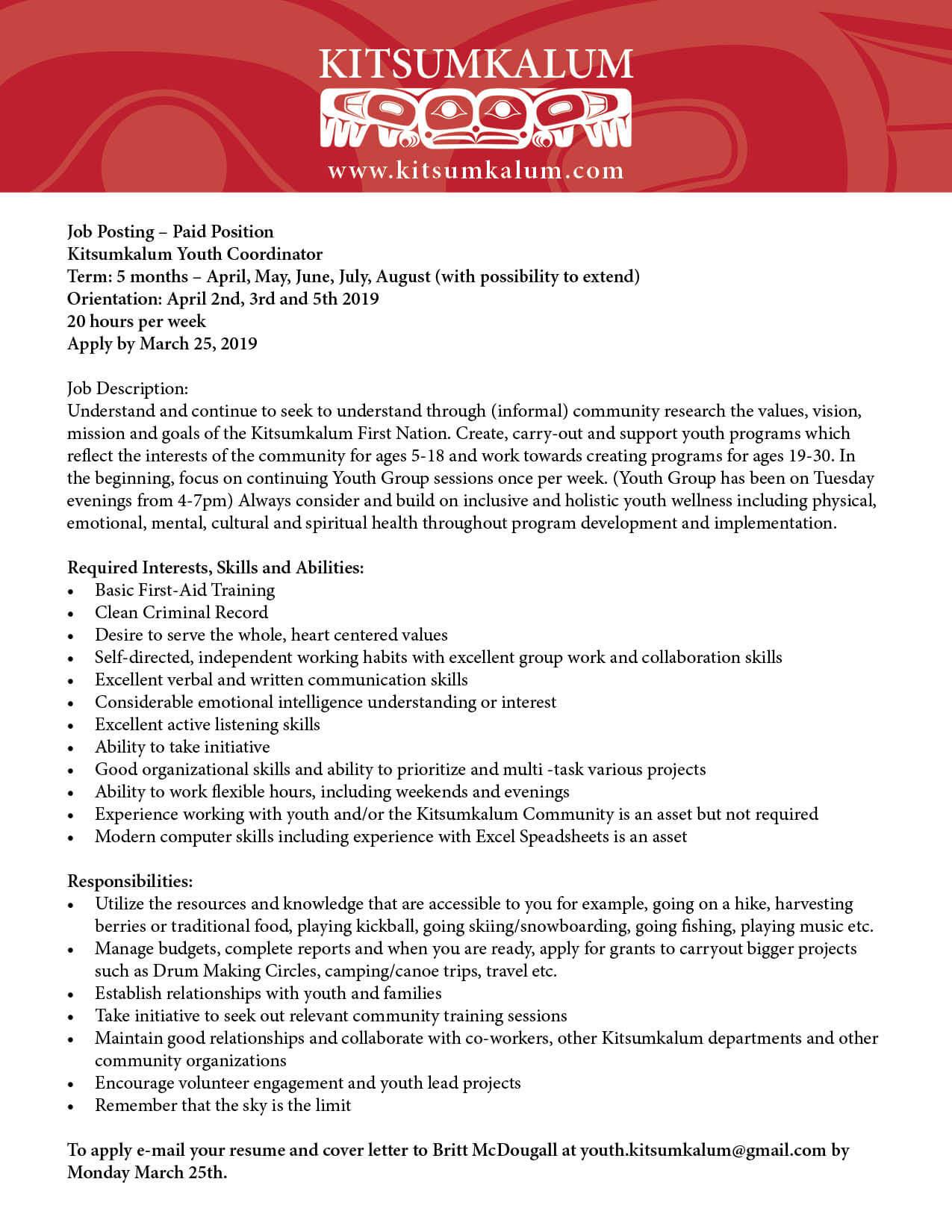 Job Opportunity – Kitsumkalum Youth Coordinator