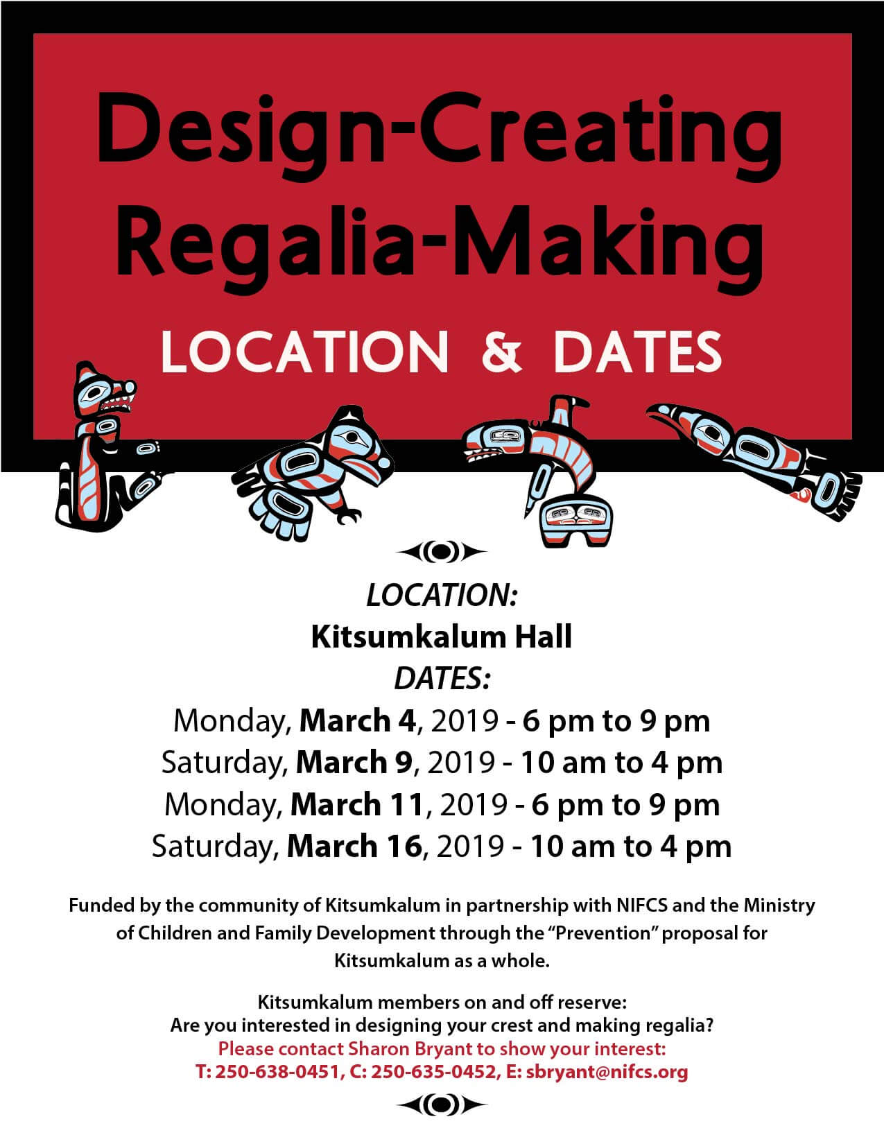 Dates and Location for Design Creating and Regalia Making Program
