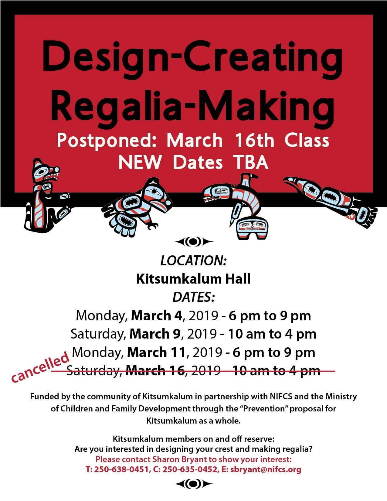 Postponed – Design Creating, Regalia Making March 2019