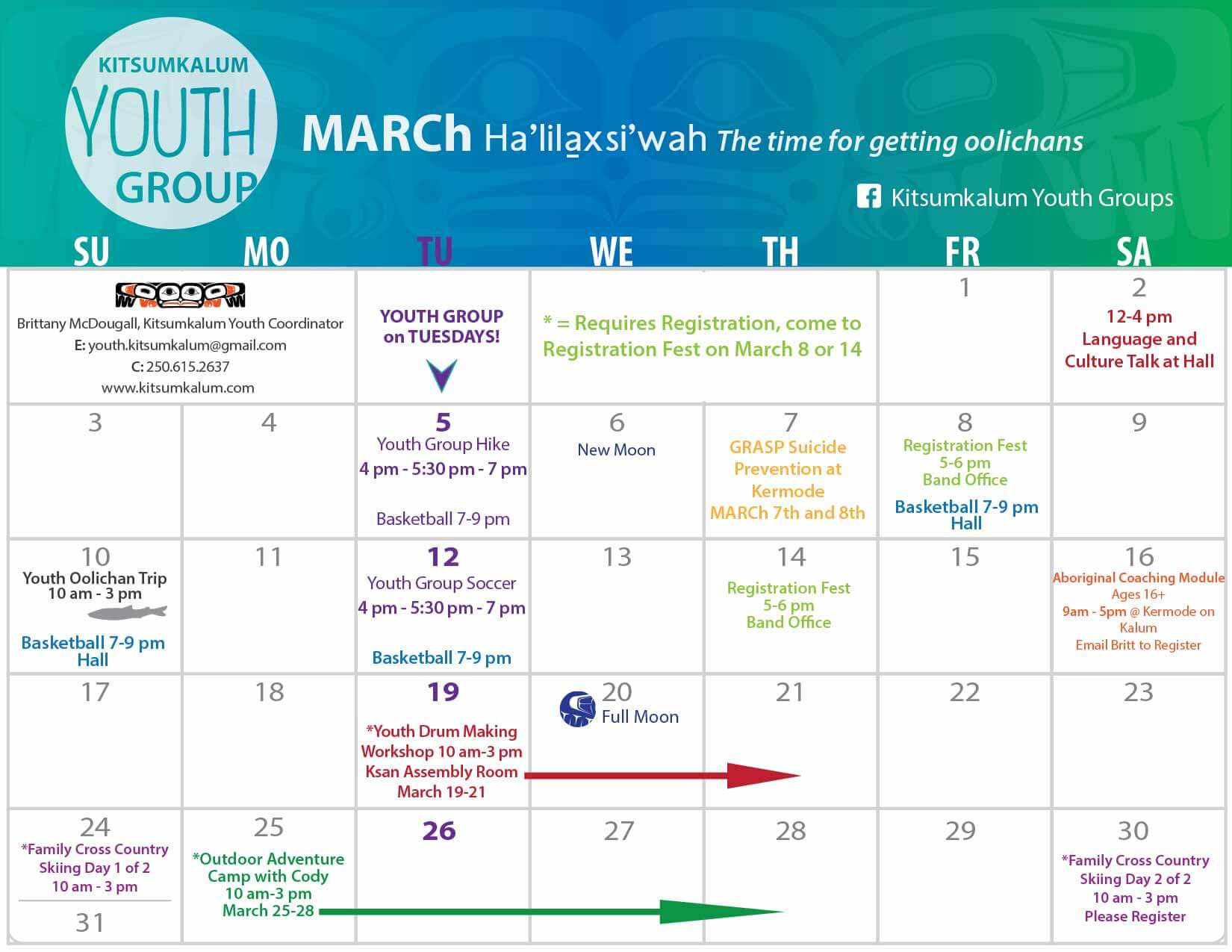 March Calendar of Events – Kitsumkalum Youth Group