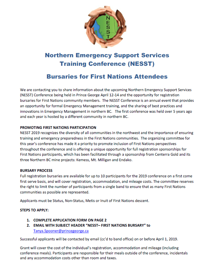 Bursaries for First Nations Attendees to Northern Emergency Support Services Training Conference (NESST)