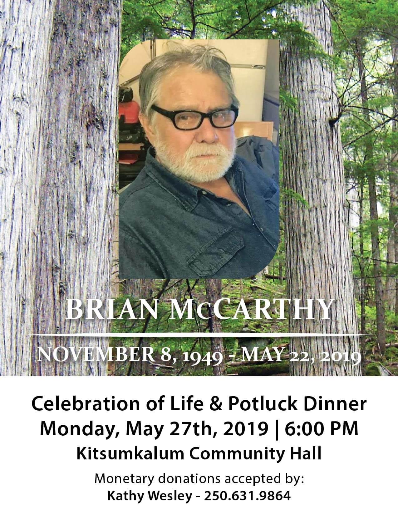 Celebration of Life – Brian McCarthy – MAY 27