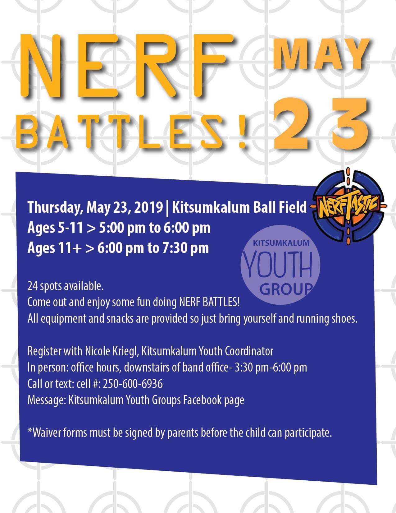 Kitsumkalum Youth Group NERF BATTLES May 23