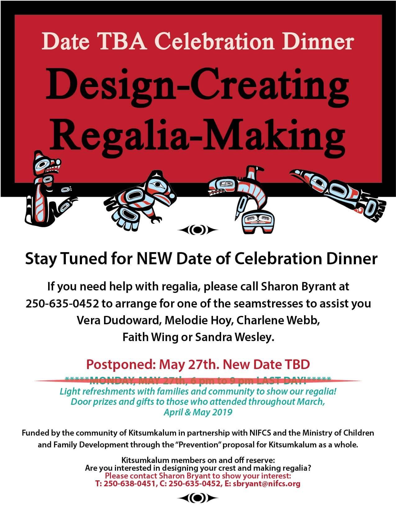 Celebration Dinner for Regalia Making DATE TBA