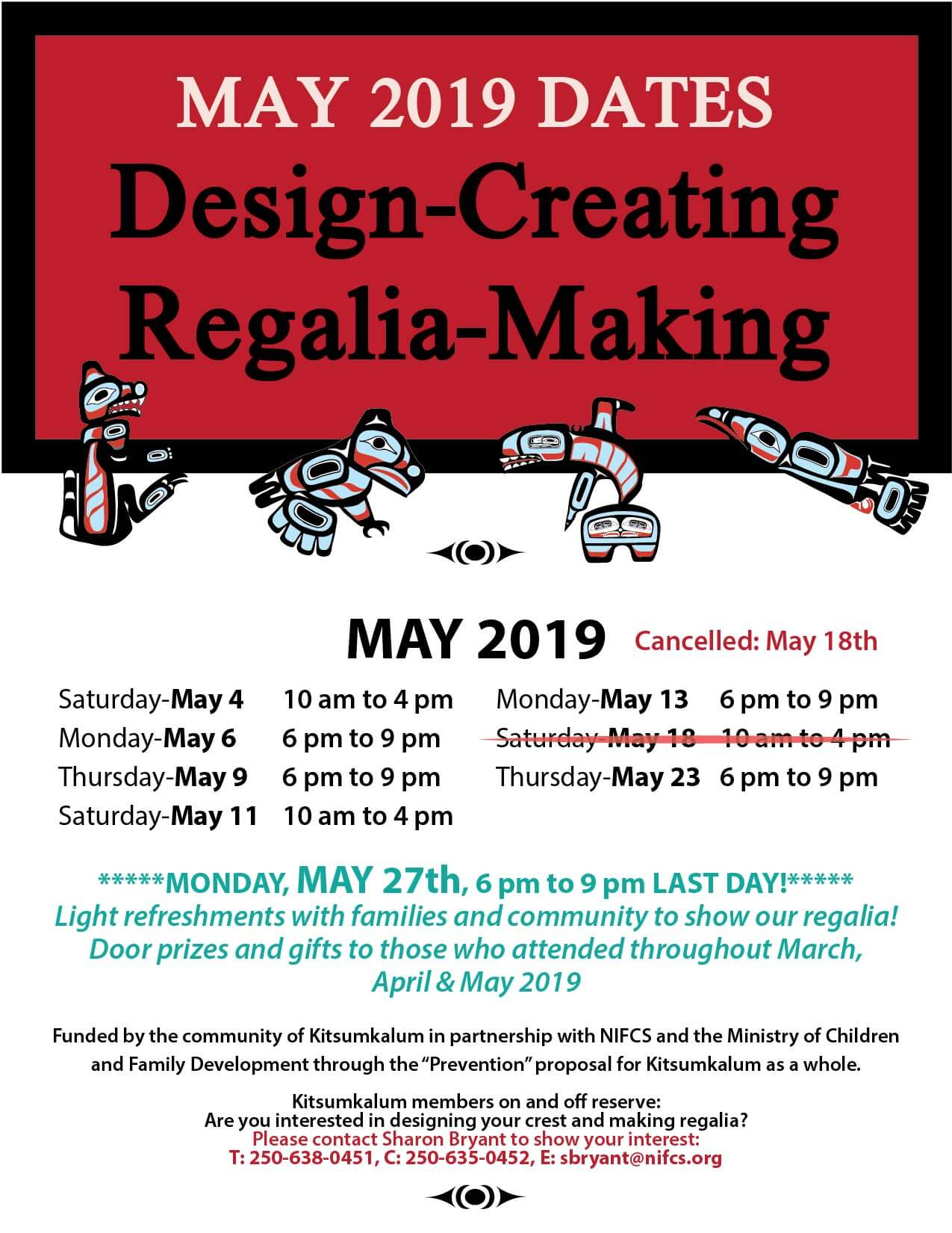 May Dates for Regalia Making – May 18th Cancelled