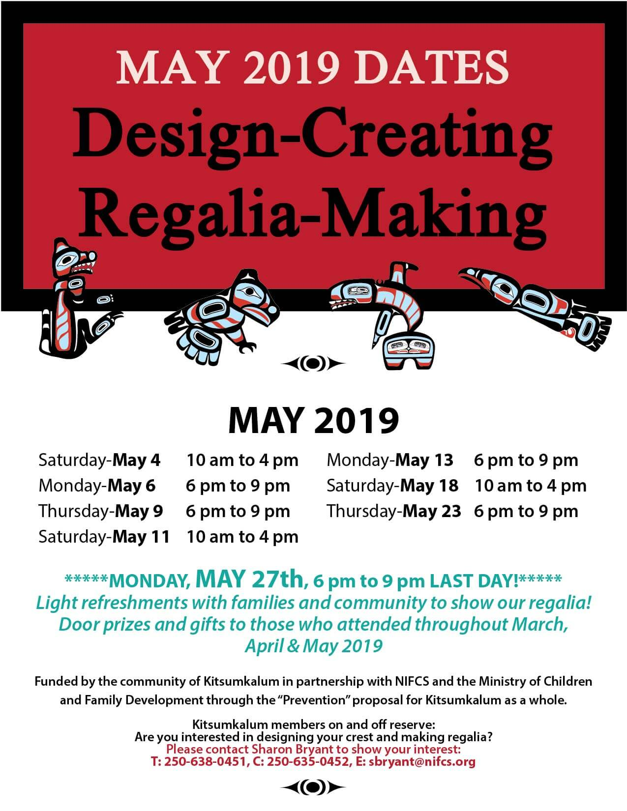 MAY Dates for Design Creating Regalia Making Sessions