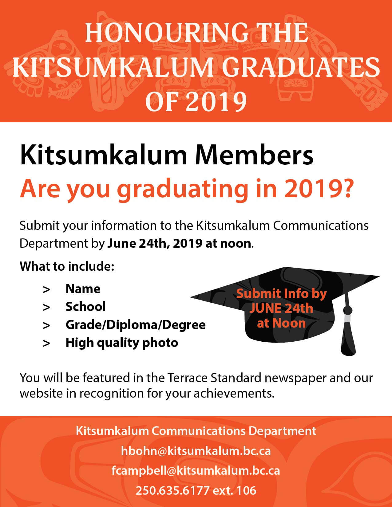 Kitsumkalum Grads of 2019 SUBMIT Your Info by JUNE 24