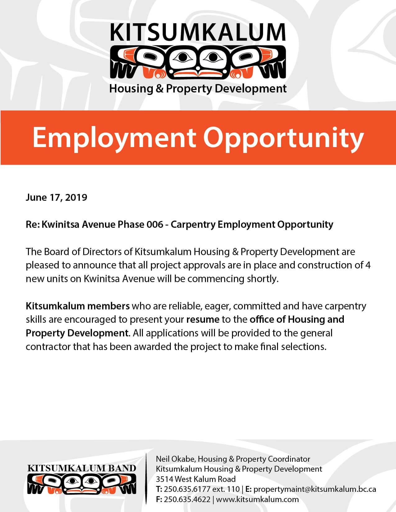 Employment Opportunity – Kitsumkalum Housing JUNE 2019