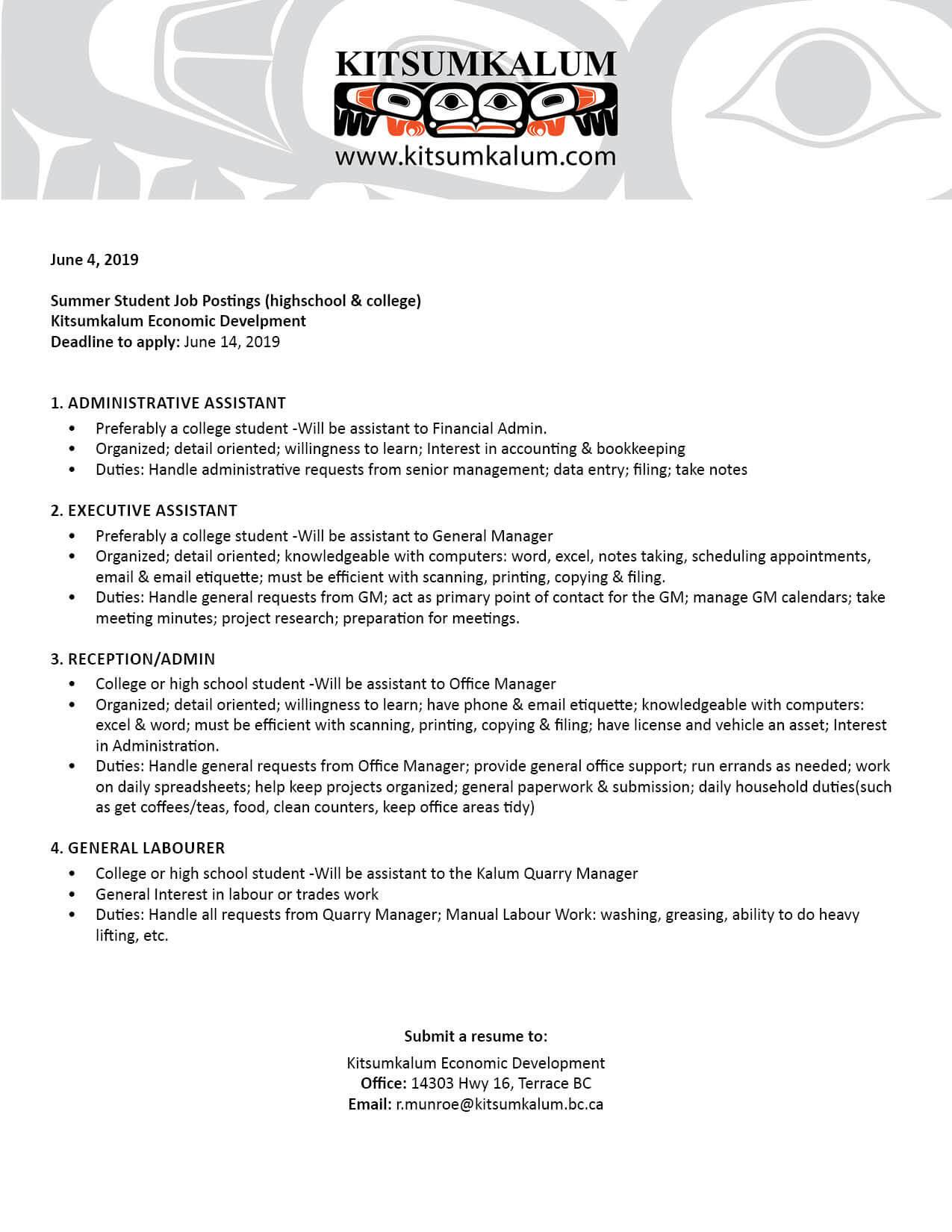 Summer Student Job Opportunities with Kitsumkalum Ec Dev