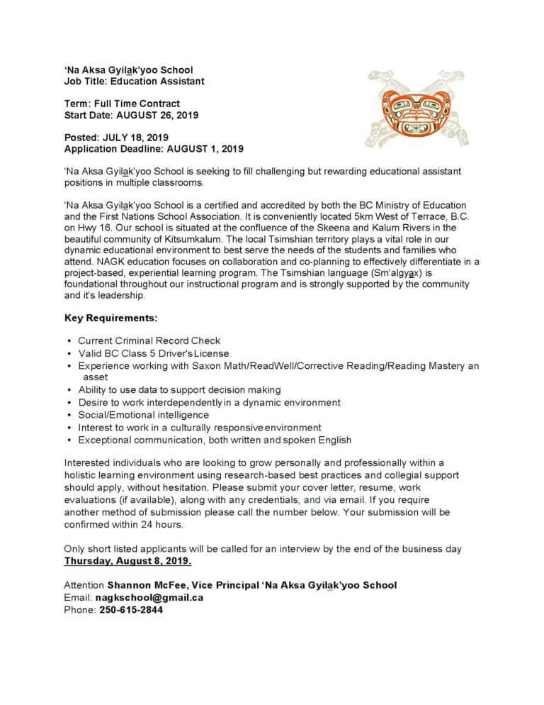 Job Opportunity Archives | Kitsumkalum, a Galts'ap (community) of