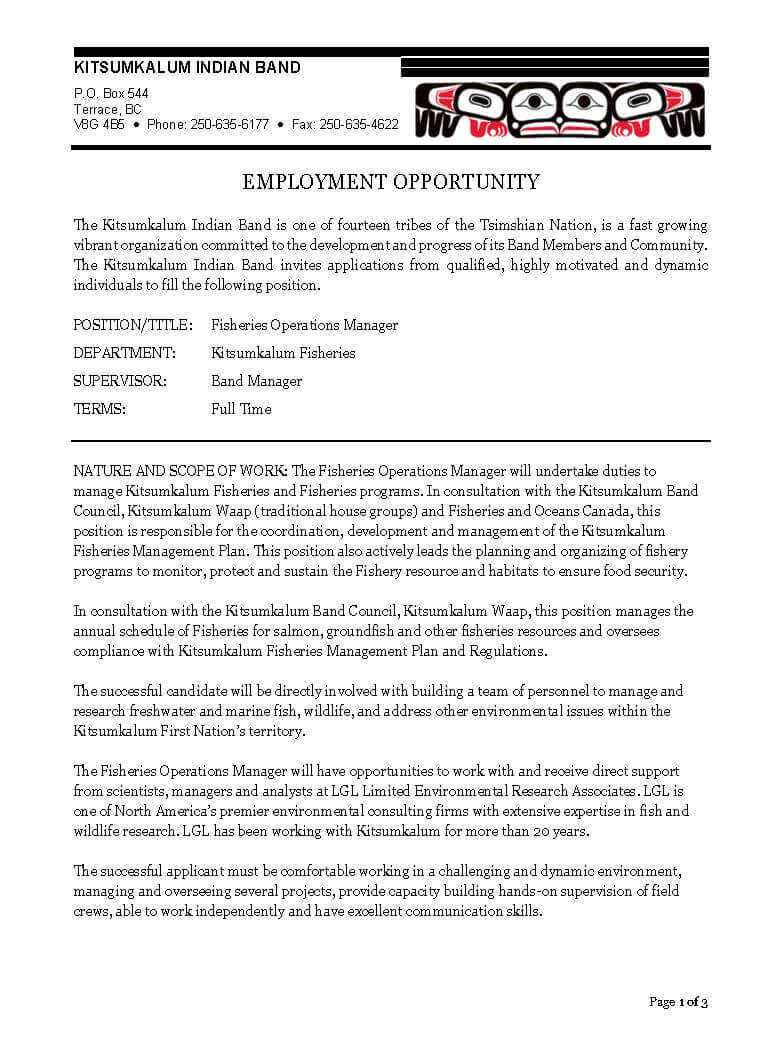Fisheries_Operations_Manager_POSTING_July2019_Page_1 Sample Cover Letter For Administrative Istant on officer resume, for clerical, assistant perfect, services manager, assistant position, medical coordinator, support assistant,