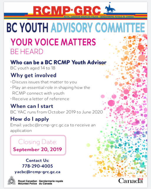 Youth Opportunity: Become a BC RCMP Youth Advisor