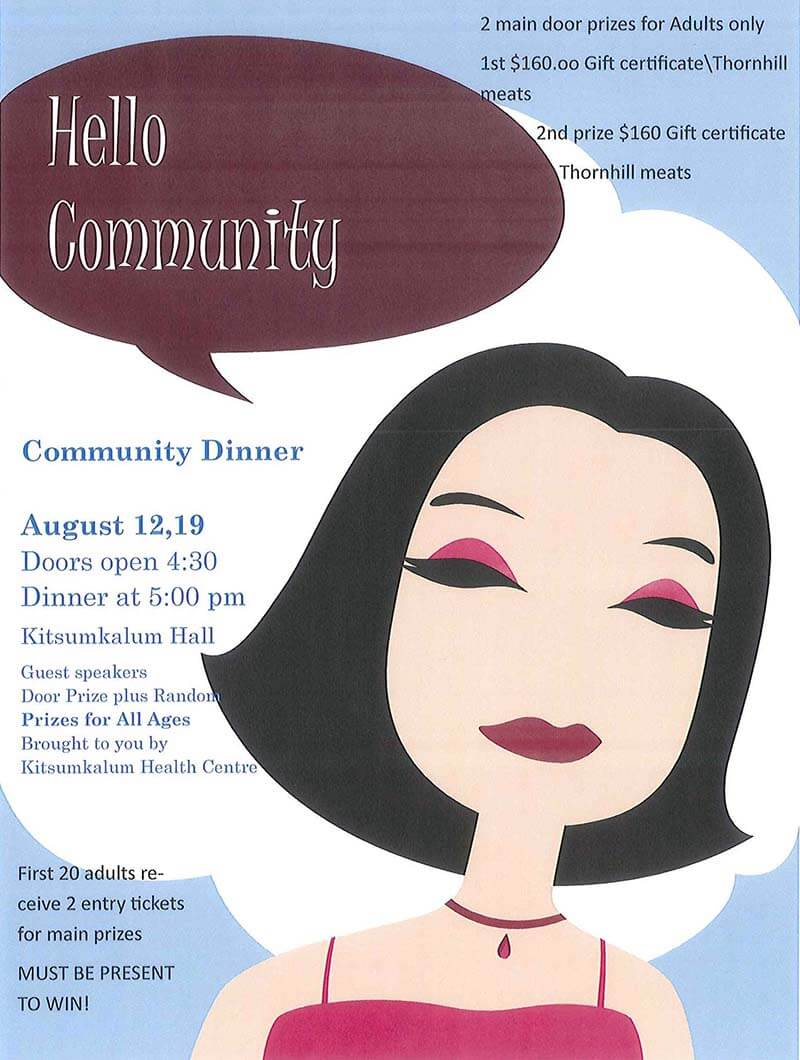 Kitsumkalum Community Dinner AUGUST 12