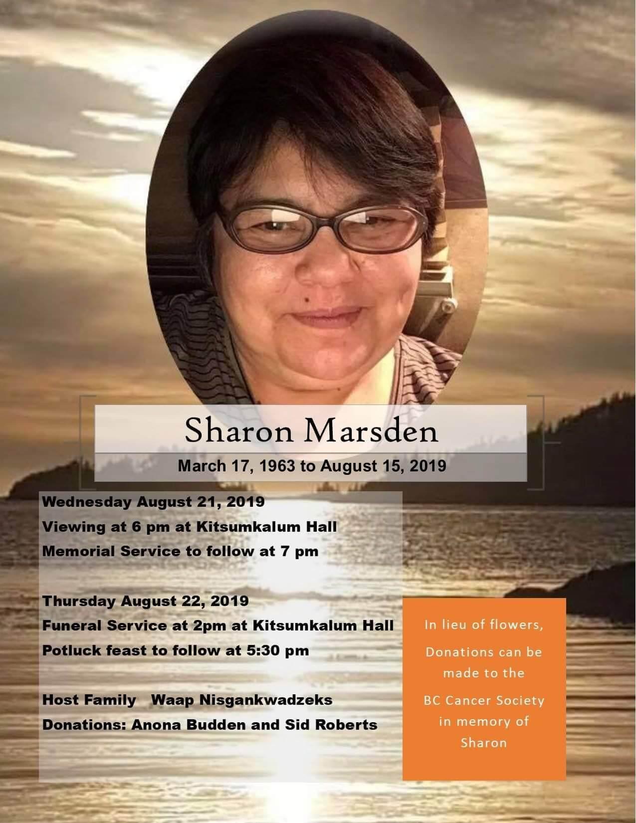 Notice of arrangements for the late Sharon Marsden