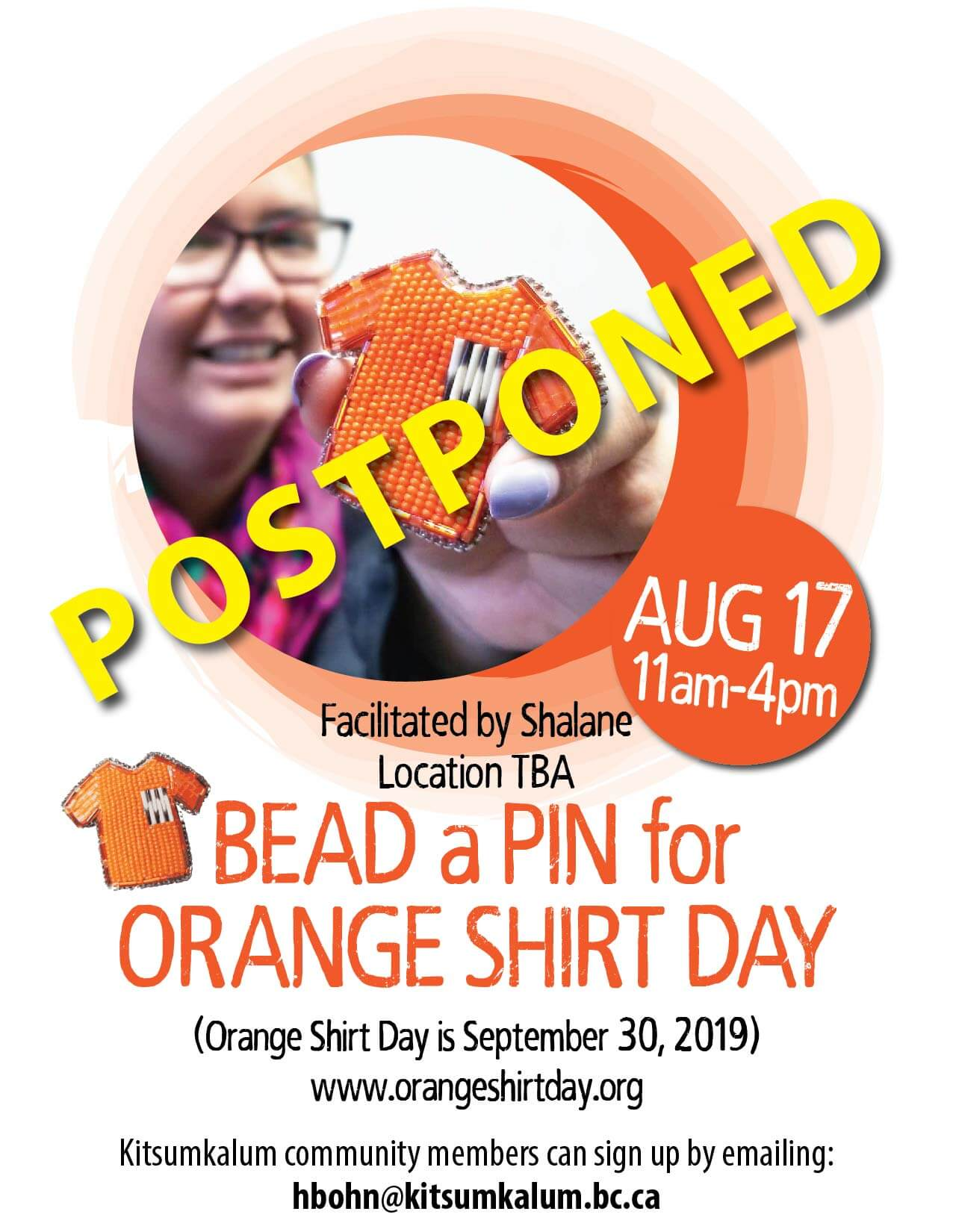 POSTPONED AUG 17 Bead a Pin for Orange Shirt Day