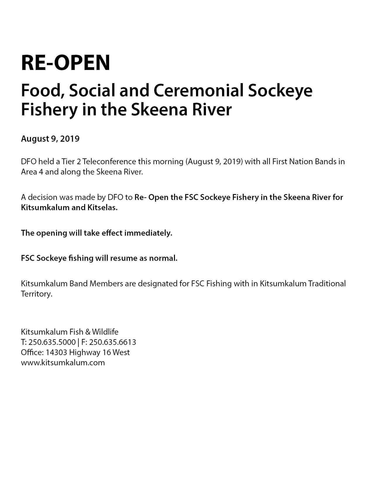 RE-OPEN – FSC Sockeye Fishery in the Skeena River AUGUST 2019