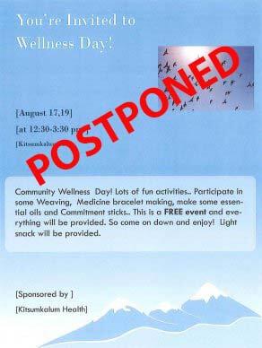 POSTPONED Kitsumkalum Wellness Day AUGUST 17
