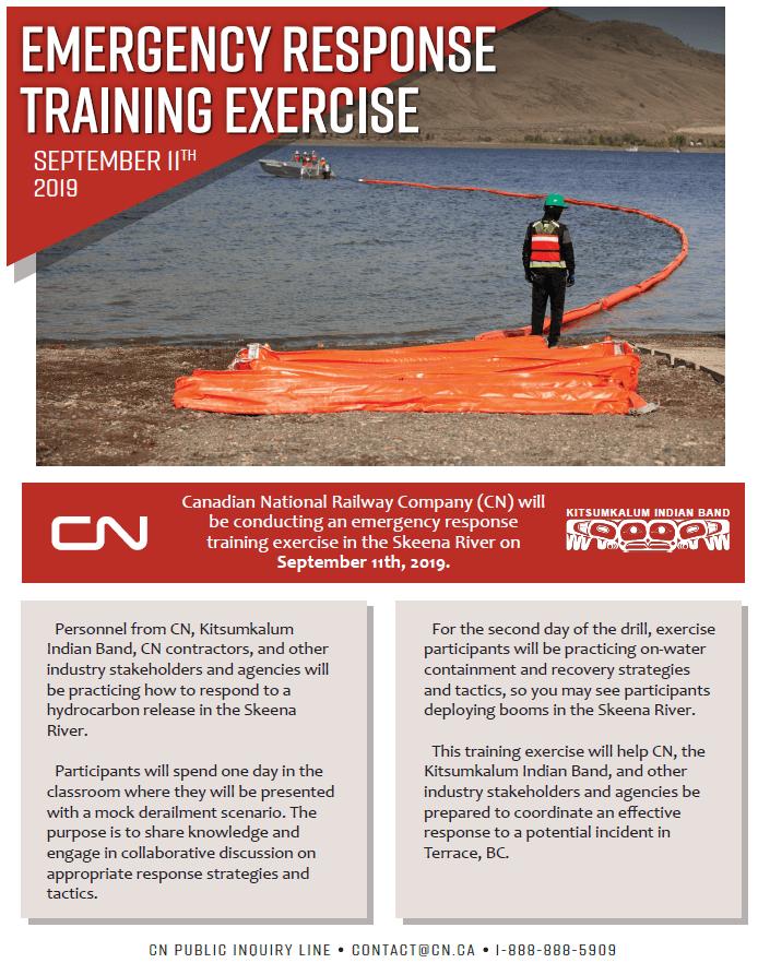 Emergency Response Training Exercise September 10th -11th, 2019