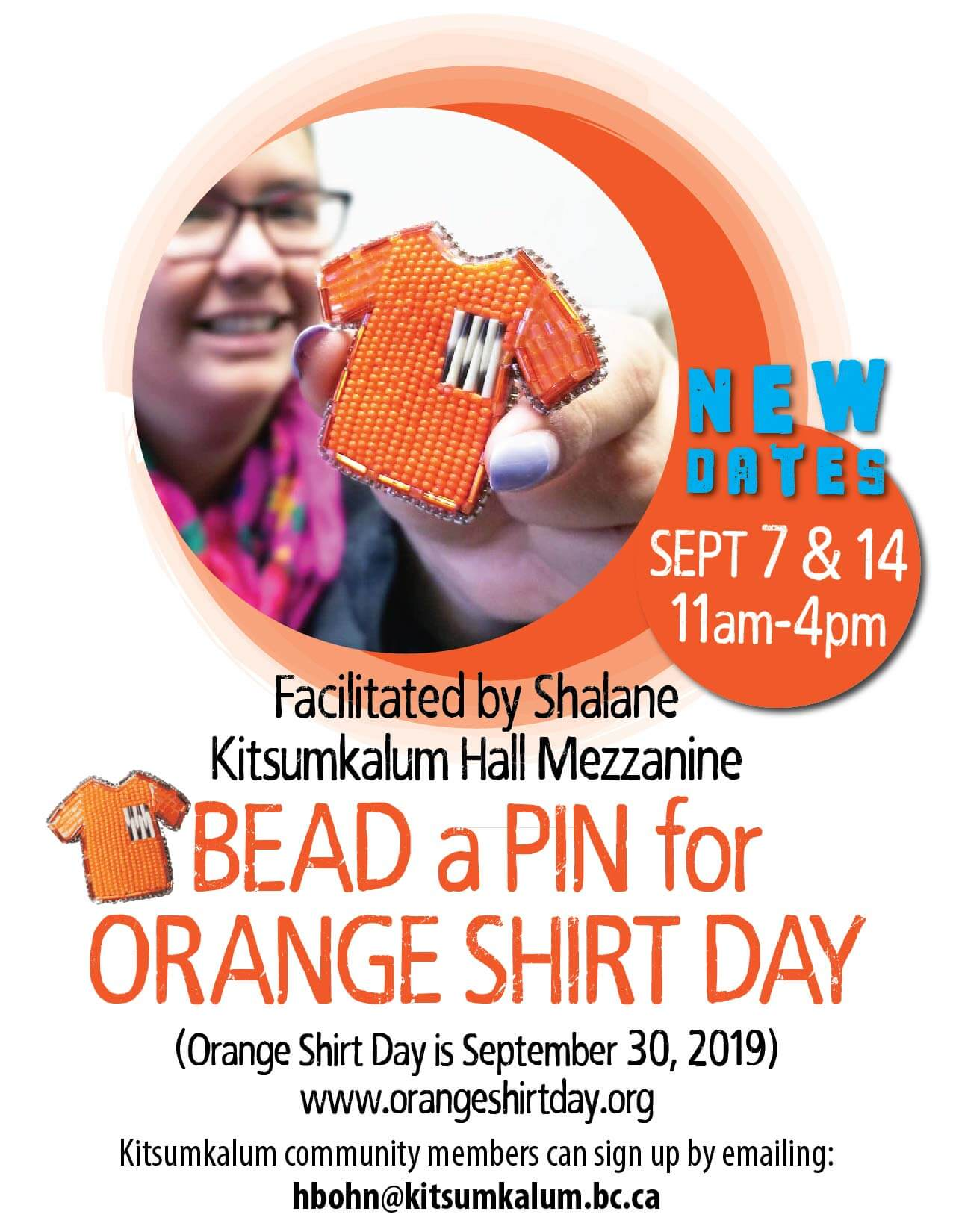 NEW DATES for Bead a Pin for Orange Shirt Day SEPT 2019