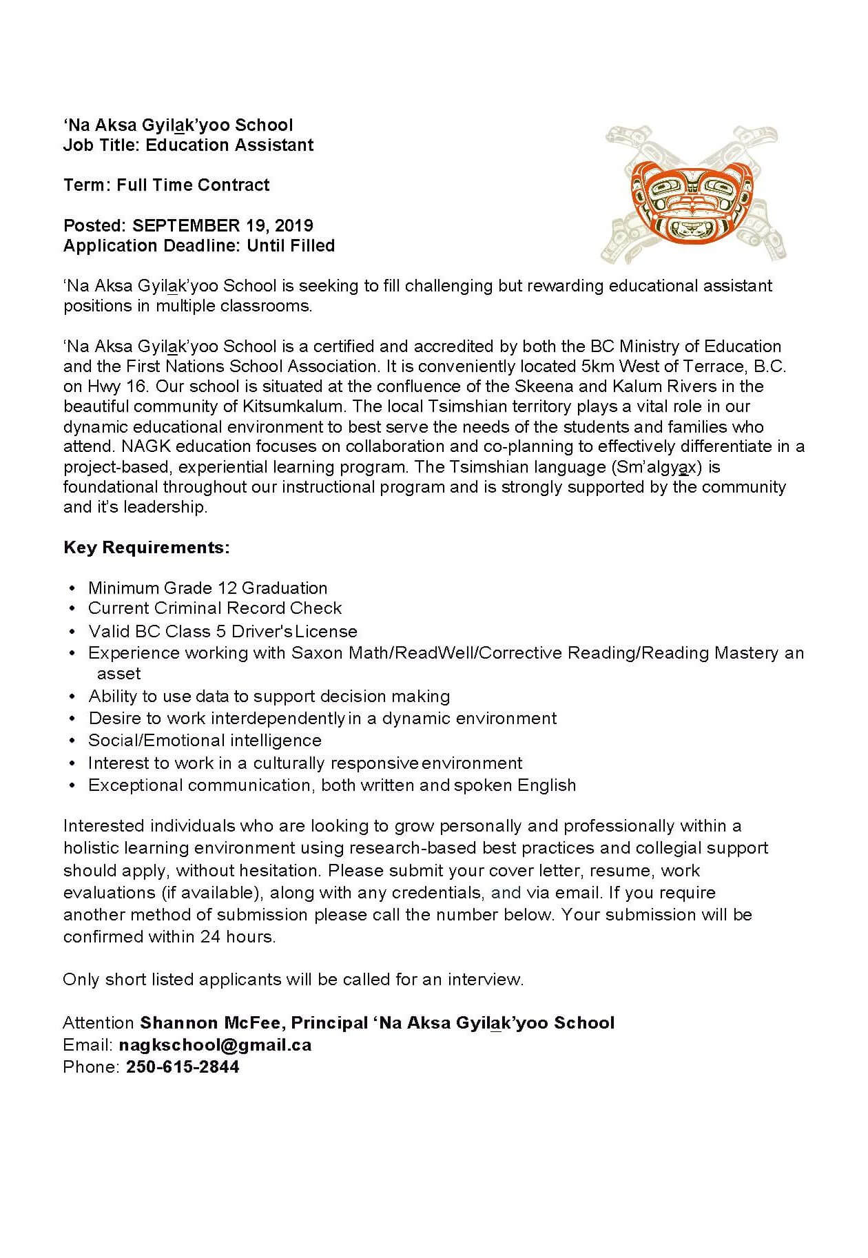 Job Posting: Education Assistant | Kitsumkalum, a Galts\'ap ...