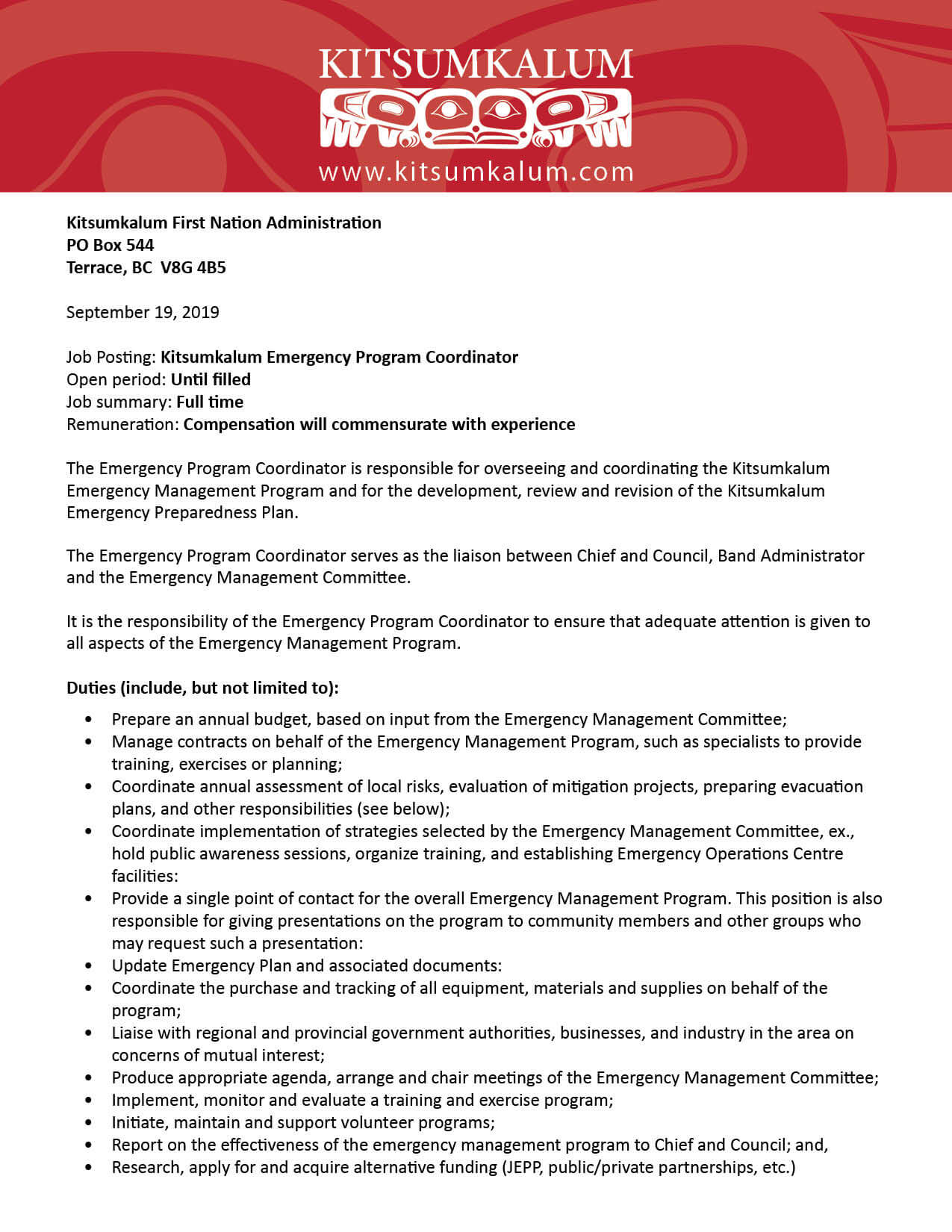 Job Opportunity Emergency Program Coordinator