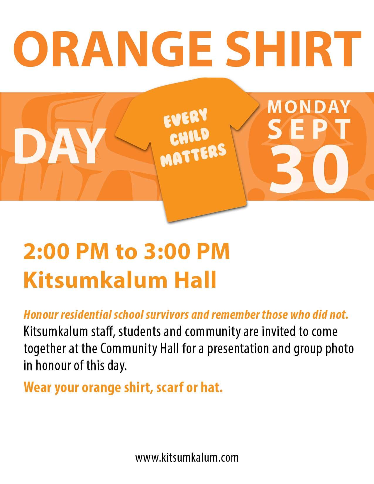 Orange Shirt Day in Kitsumkalum SEPT 30
