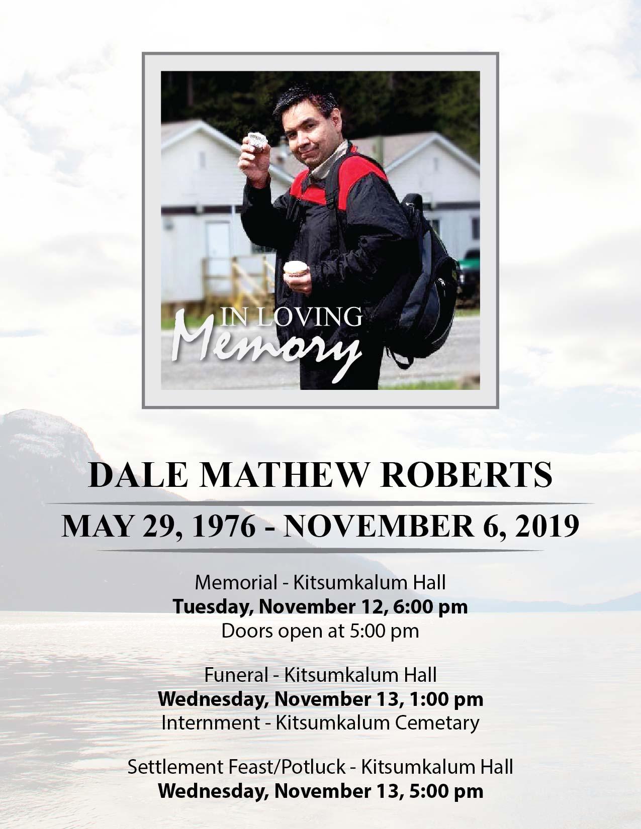 Arrangements for Dale Mathew Roberts November 2019