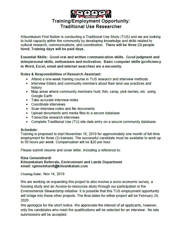 Training and Employment Opportunity Apply by Nov 14