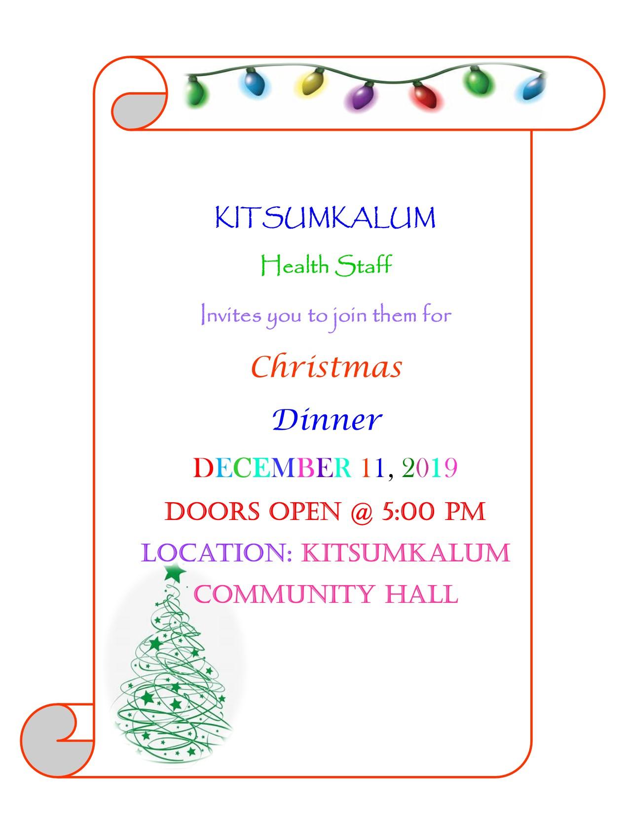 Kitsumkalum Health – Community Christmas Dinner DEC 11