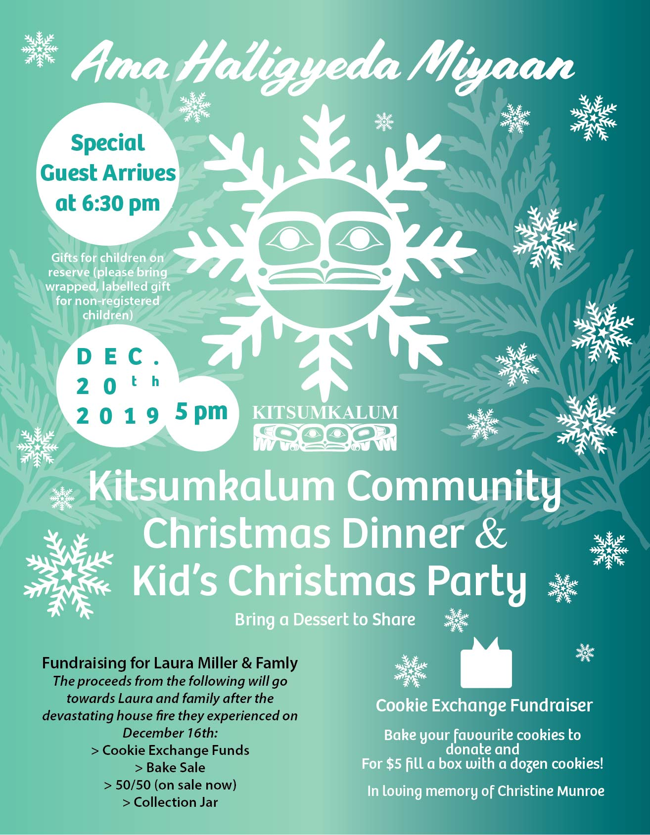 Kitsumkalum Community Christmas Dinner & Kid's Christmas Party DEC 20