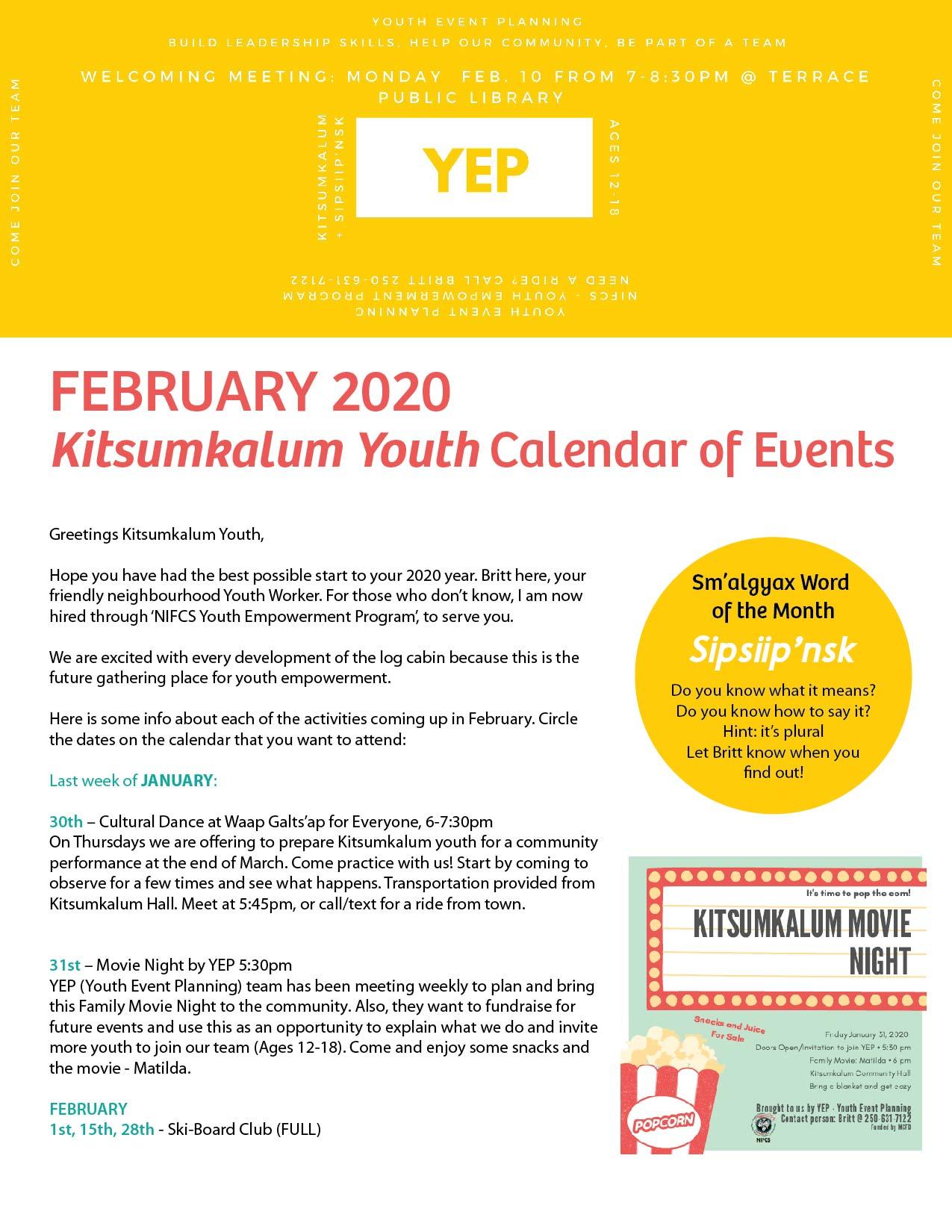 Kitsumkalum Youth February Newsletter