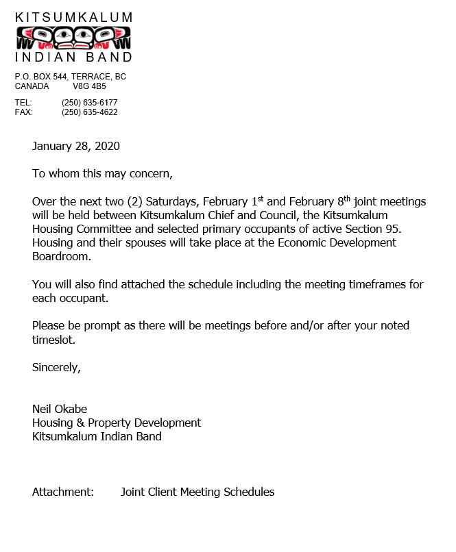 Housing Meetings – Feb. 1 & Feb.8, 2020