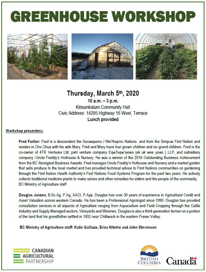 GREENHOUSE WORKSHOP – March 5, 2020