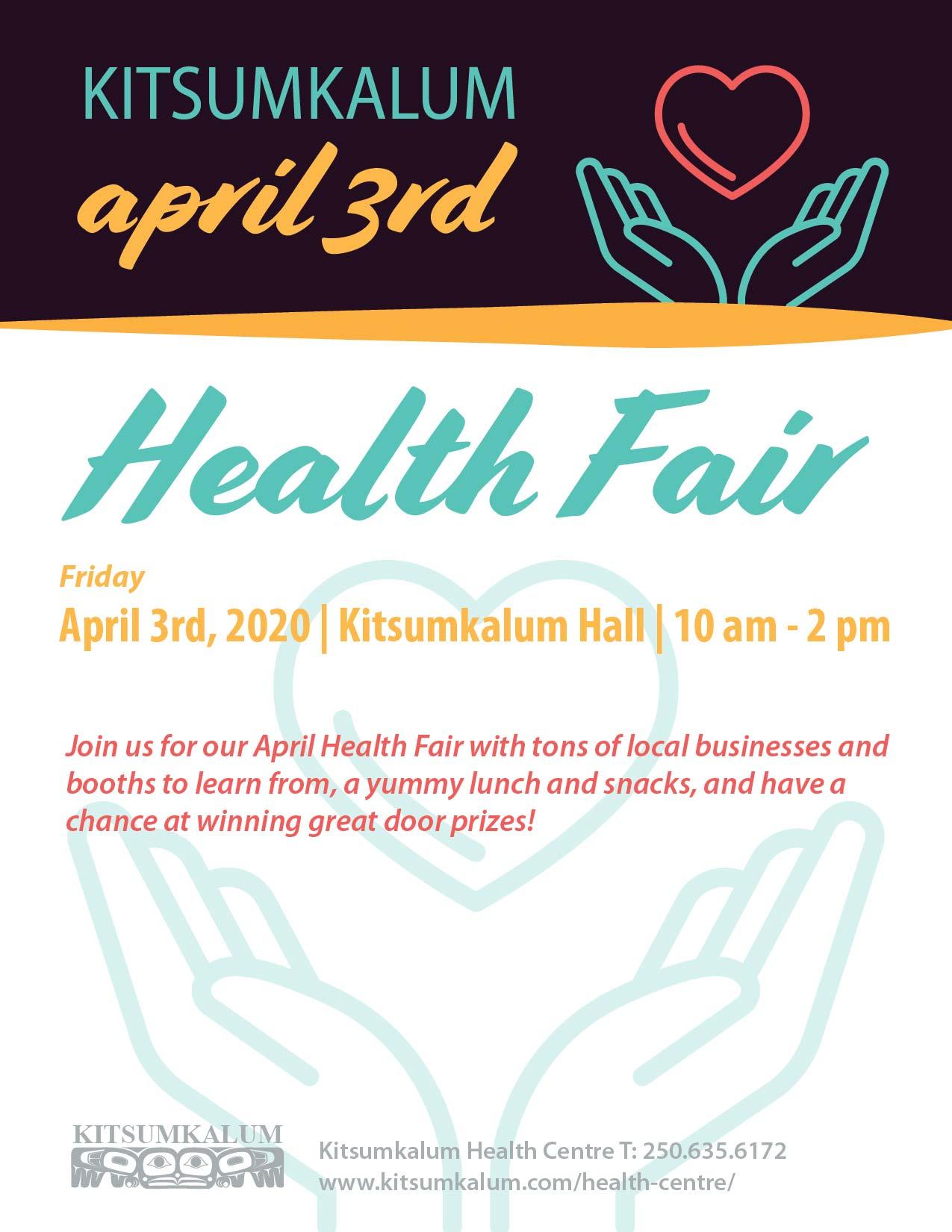 POSTPONED Health Fair at Kitsumkalum Hall April 3rd