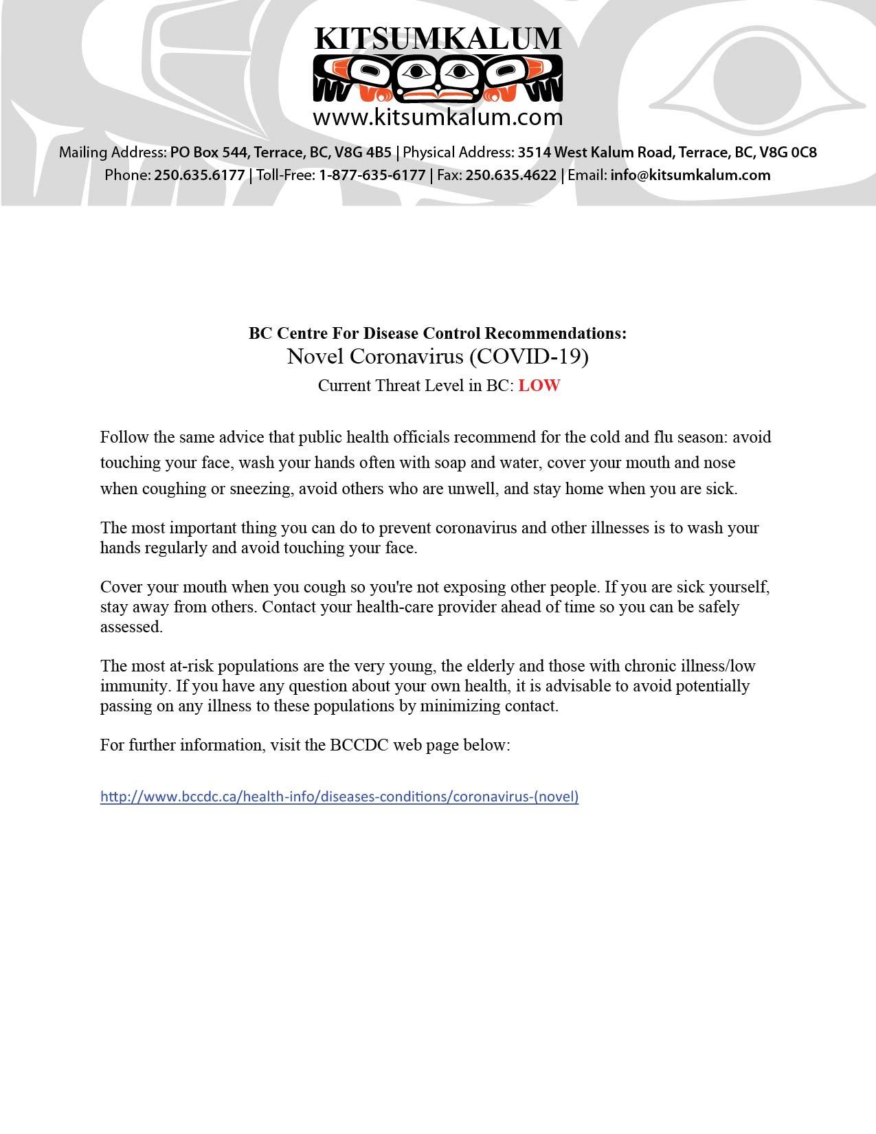 BCCDC Recommendations for Novel Coronavirus