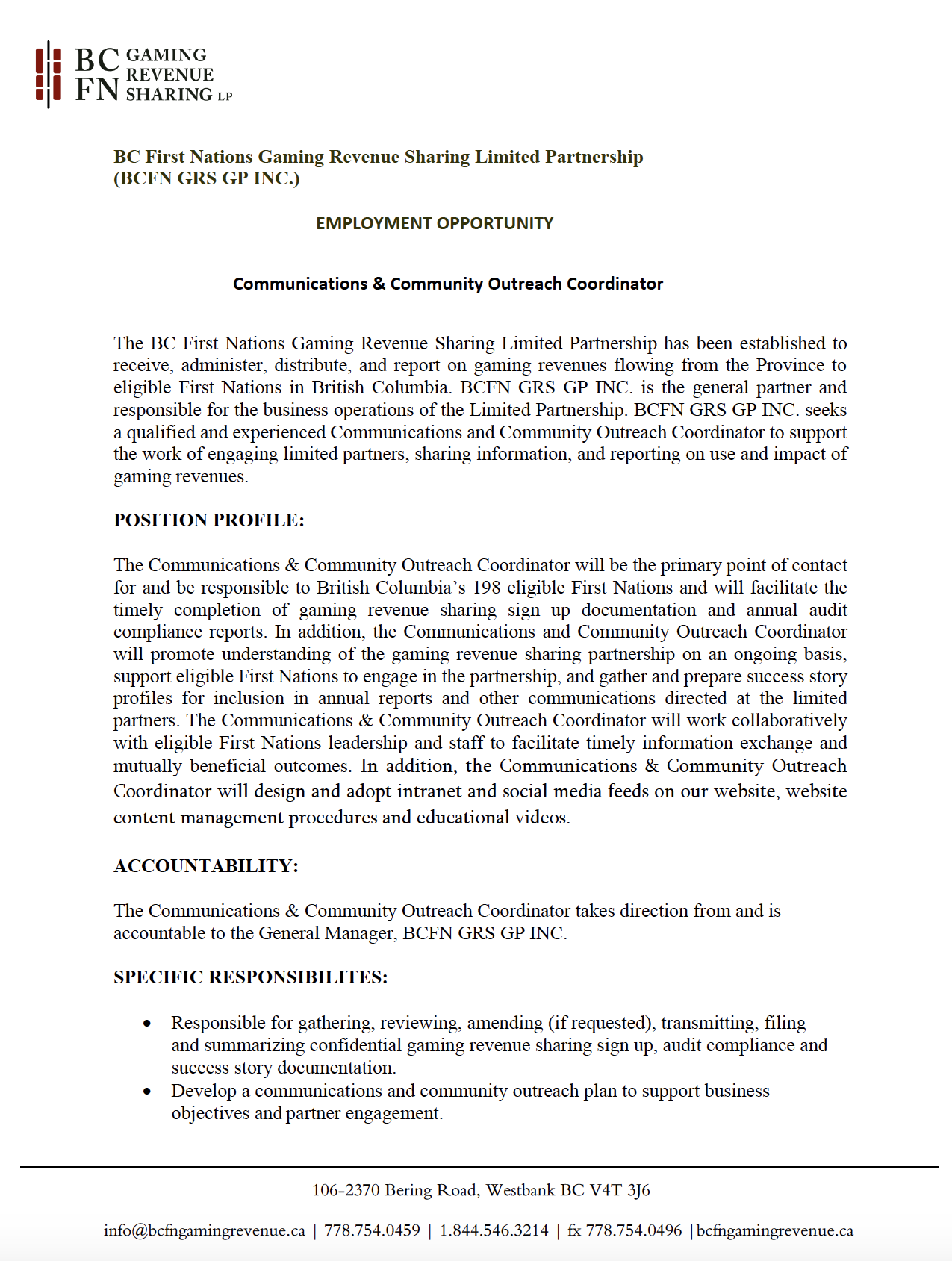Employment Opportunity with BC FN Gaming Revenue
