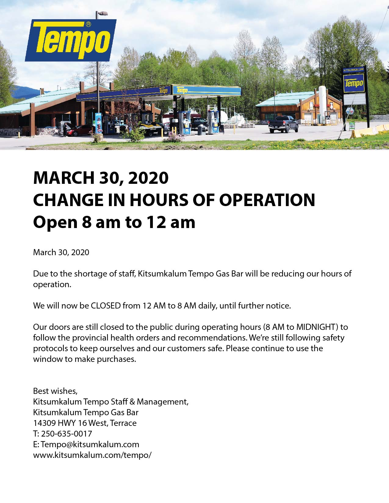 Changed Hours of Operation for Tempo March 30
