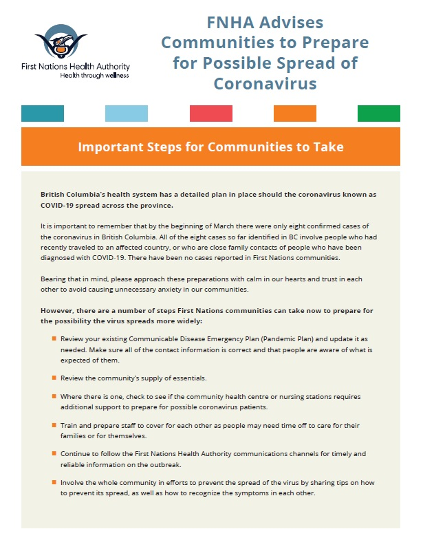 FNHA Advises Communities to Prepare for Possible Spread of Coronavirus