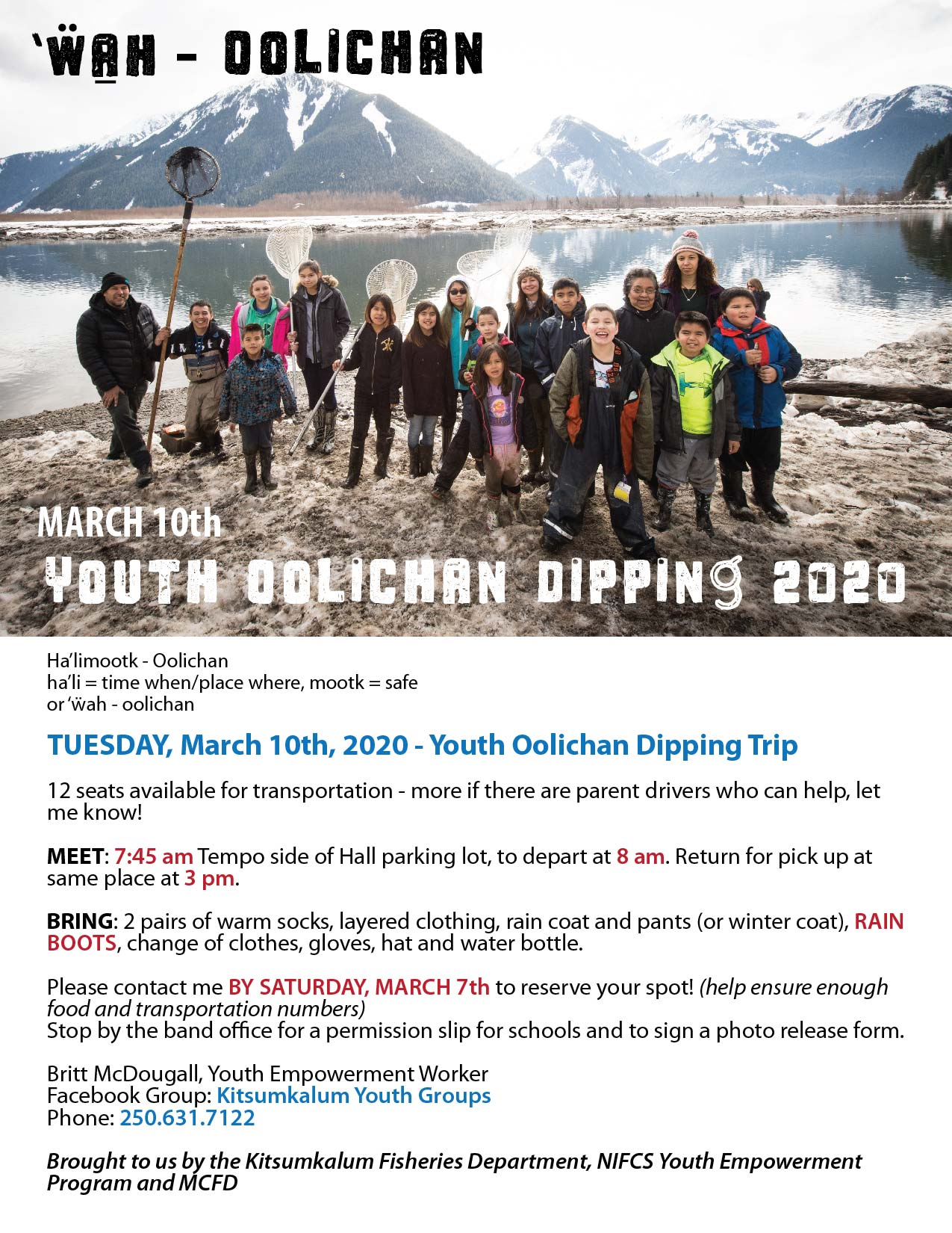 Youth Oolichan Dipping March 10th 2020