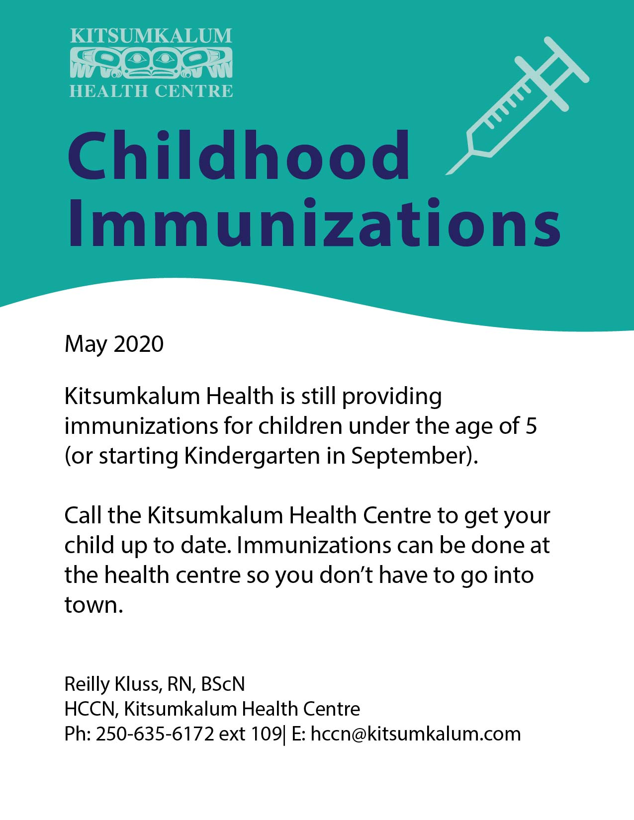 Childhood Immunizations Offered at Kitsumkalum Health