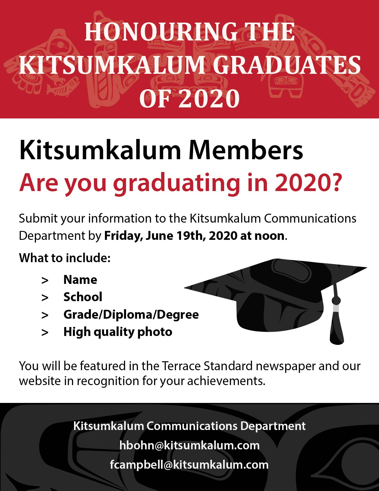 Send In Your Photo and Information for Grad 2020