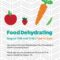 Food Dehydrating August 10th and 11th