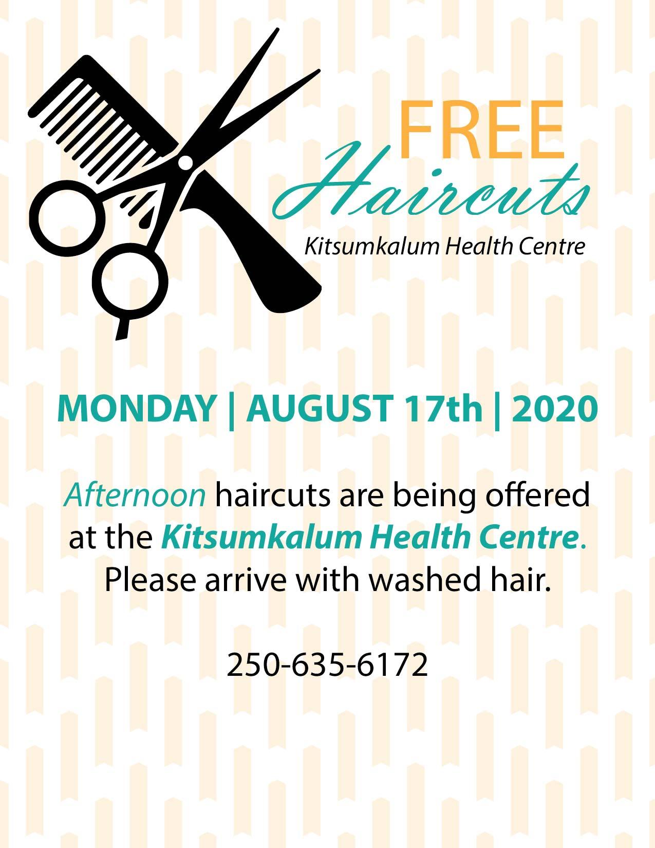 Free Haircuts at Kitsumkalum Health Centre