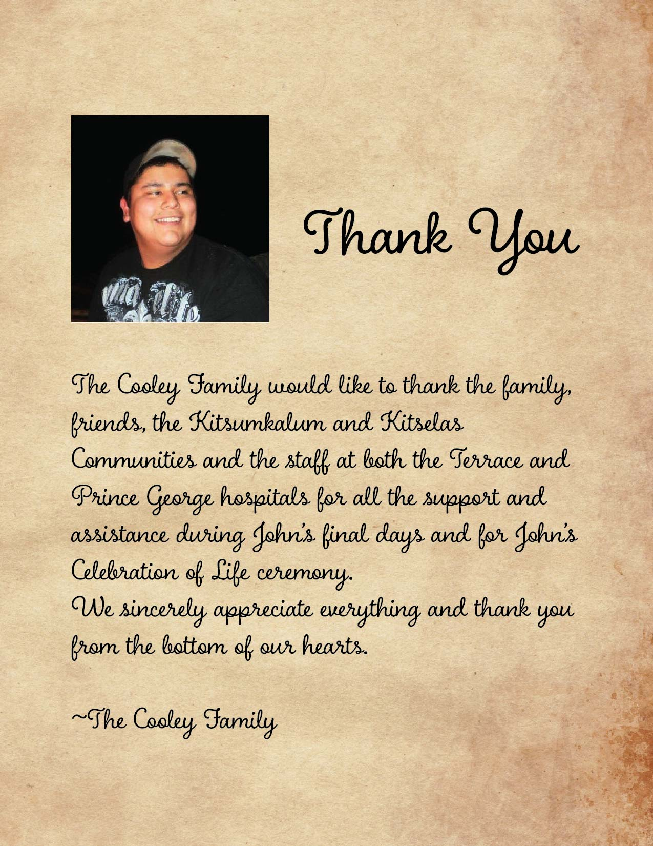 Thank you from the Cooley Family