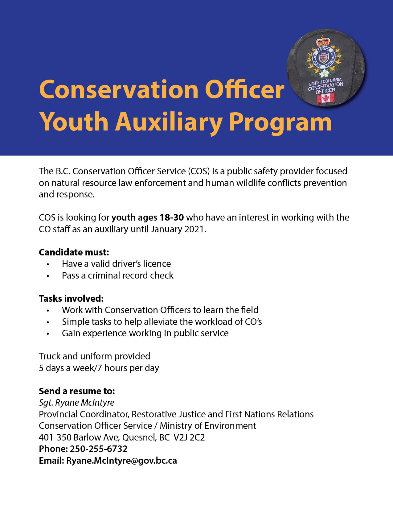 Conservation Officer Youth Auxiliary Program