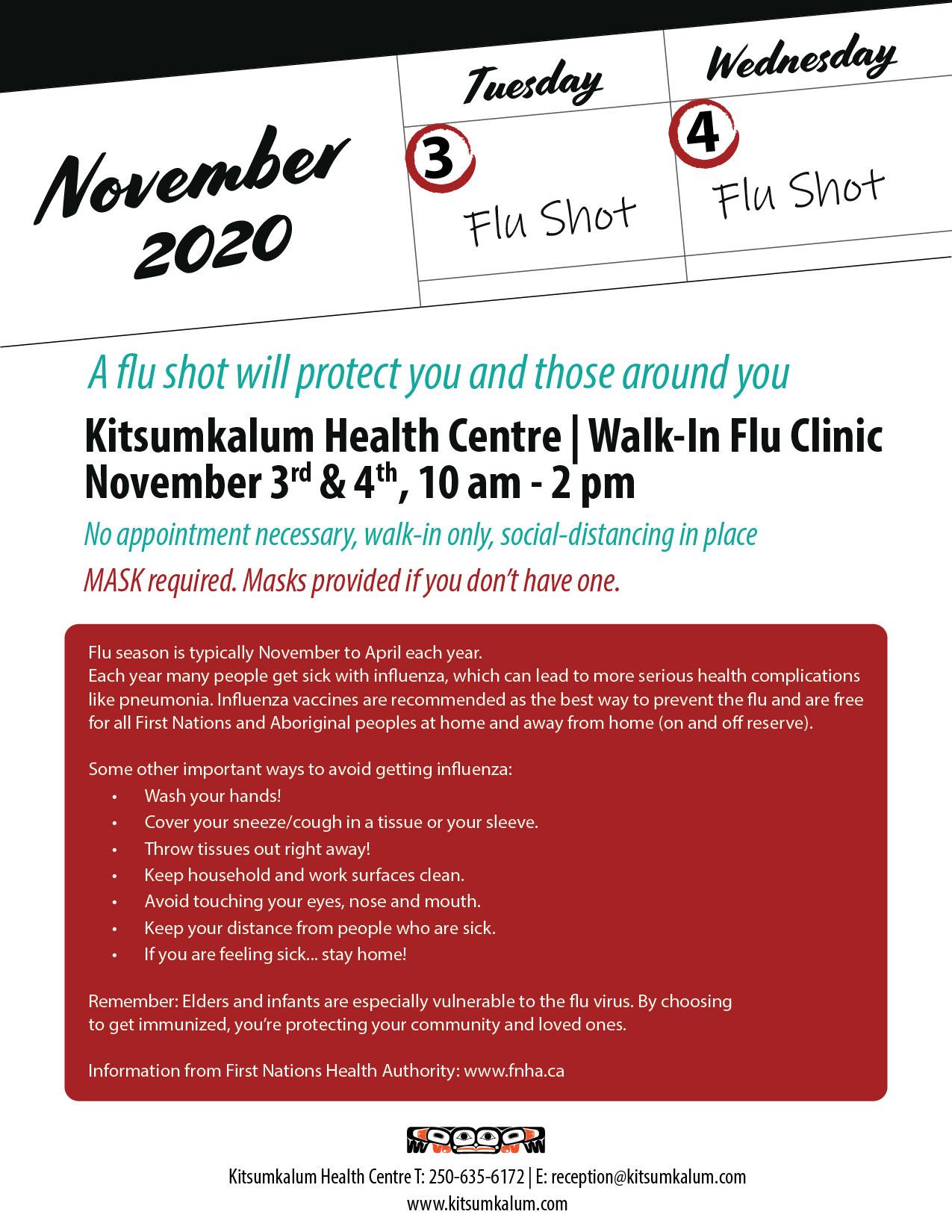 Kitsumkalum Health Flu Clinics NOV 3rd and 4th