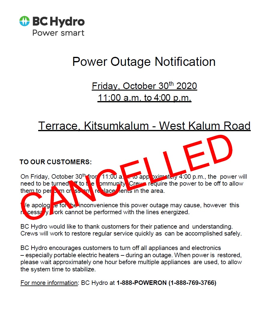 CANCELLED – Planned Power Outage – West Kalum Road