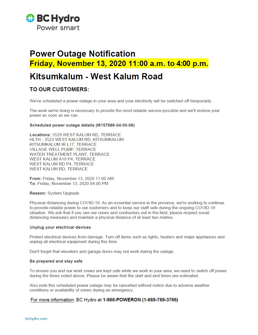 Power Outage Rescheduled to November 13th – West Kalum Road